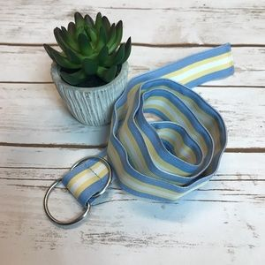 J Crew Blue Yellow White Ribbon D-Ring Belt